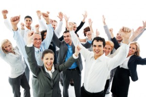 Successful Business People with raised hands.